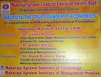 Lecture on ''KAUTILYA THE TRUE FOUNDER OF ECONOMICS'' (9-3-2017)