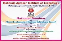National Seminar On ''Recent Developments In Electronic Materials And Devices'' (10th & 11th Nov 2017) (ECE, MAIT)